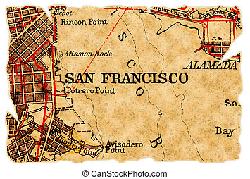San Francisco old map - San Francisco on an old torn map...