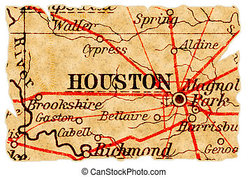 Houston old map - Houston, Texas on an old torn map from...