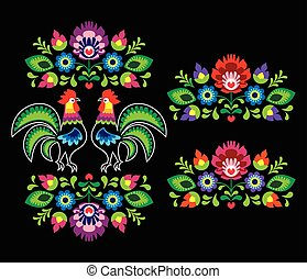 Polish folk art embroidery with roosters - traditional folk...