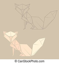 Set illustration paper origami of fox. - Set vector simple...