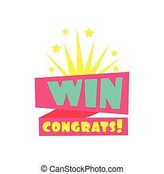 Win Congratulations Sticker Design Template For Video Game...