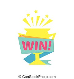 Win Congratulations Sticker With Golden Cup Design Template...