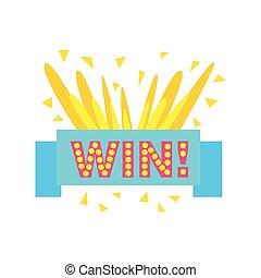 Win Congratulations Sticker With Blue Ribbon Design Template...