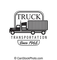 Heavy Trucks Company Club Logo Black And White Design Template With Vehicle Silhouette