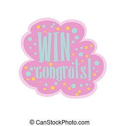 Pink And BLue Win Congratulations Sticker Design Template...