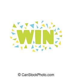 Win Congratulations Sticker With Confetti Design Template...