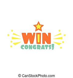 Win Congratulations Sticker With Star And Sparks Design...