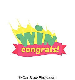 Win Congratulations Sticker Design With Green Letters And...