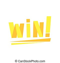 Win Congratulations Sticker With Yellow Letters Design...