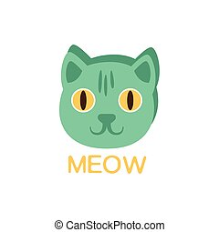 Meow And Cat Face, Word And Corresponding Illustration,...