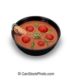 Seychelles cuisine. Tomatoe soup with seafoods isolated.