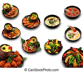 Seychelles cuisine set isolated. A lot of dishes with soups...