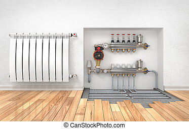Heating concept. Underfloor heating with collector in the...