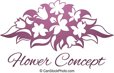 Flower Florist Floral Design Icon - An abstract bouquet...
