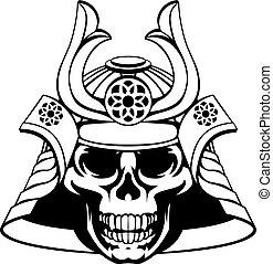Skull Samurai Warrior - Skull samurai with mask and helmet...