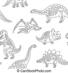 Black and white hand drawn fossil dinosaurs seamless pattern...