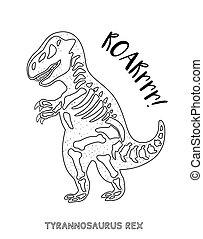 Black and white line art with dinosaur skeleton