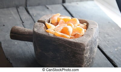 healthy fresh Mandarin citrus fruit slices - Mandarin citrus...