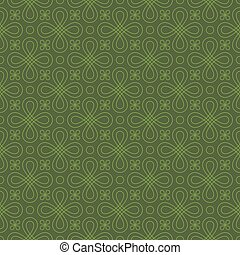 Neutral Seamless Linear Flourish Pattern.