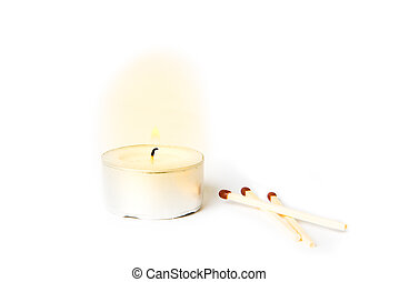 Lit candle with matches