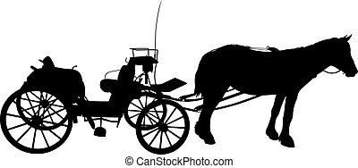 Shadow of a large carriage - Vector illustration of a hitch,...