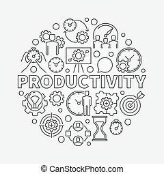 Productivity line round illustration. Vector modern business...