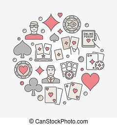 Poker colorful circular illustration. Vector round sign made...