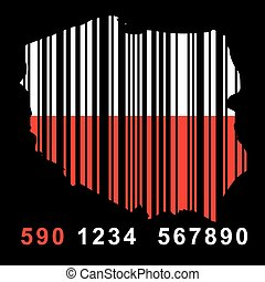 Poland - map of  Poland with barcode