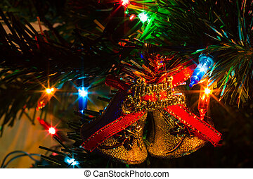extreme closeup decorated Christmas tree at home with...