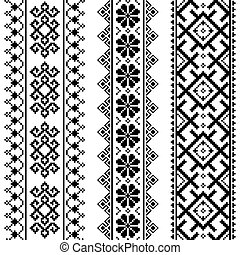 Ukrainian, Belarusian black embroidery seamless pattern -...