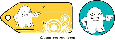 angry funny ghost cartoon expression giftcard - funny ghost...