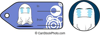 crying funny ghost cartoon expression giftcard - funny ghost...