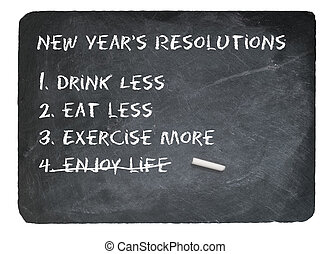 New Years resolution concept using chalk on slate blackboard...