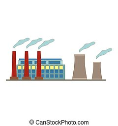 Big factory icon in flat style design. Vector