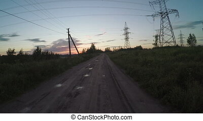 Country road with power line