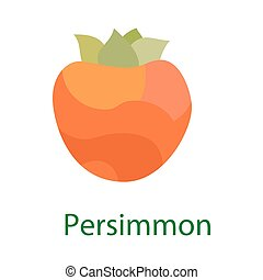 Persimmon fruit logo, sweet food icon isolated on white background. Vector