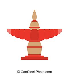 Fountain decoration flat icon. Vector illustration design. -...