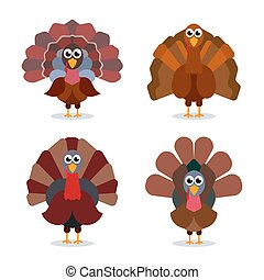 Turkey cartoon collection. Happy Thanksgiving celebration sign. Vector birds illustration