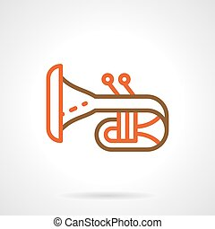 Bugle simple color line vector icon - Abstract symbol of...