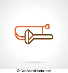 Abstract trombone color line vector icon - Abstract symbol...