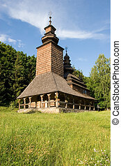 Wooden church in the park, Kiev, Ukraine Pirogovo