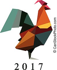 Vector illustration of origami silhouette of cock, rooster