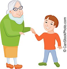 Happy grandmother and her grandson communicate together -...