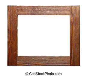 Rustic wooden frame isolated on white