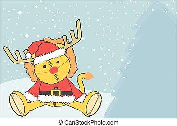 lion plush santa claus costume xmas background - cute litle...