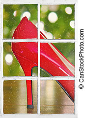 Christmas red high heel show in windowpane - shiny red pump...