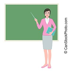 Female teacher with a pointer at blackboard