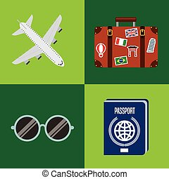 travel holidays flat line icons
