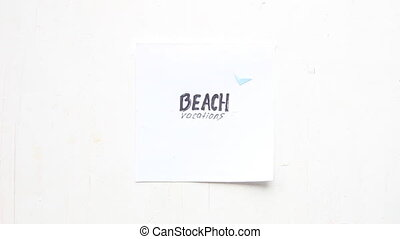 Beach vacation idea, art style - Beach vacation idea, hand...