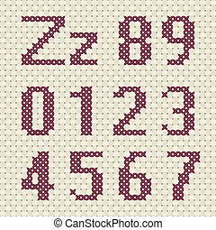 Alphabet and number in cross stitch pattern.